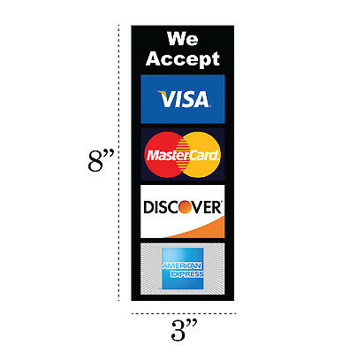 2x Credit Card Logo Decal Stickers Visa Mastercard Discover American Express Pos