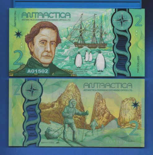 Antarctica $2 One Dollar June 2020 Polymer Uncirculated Banknote