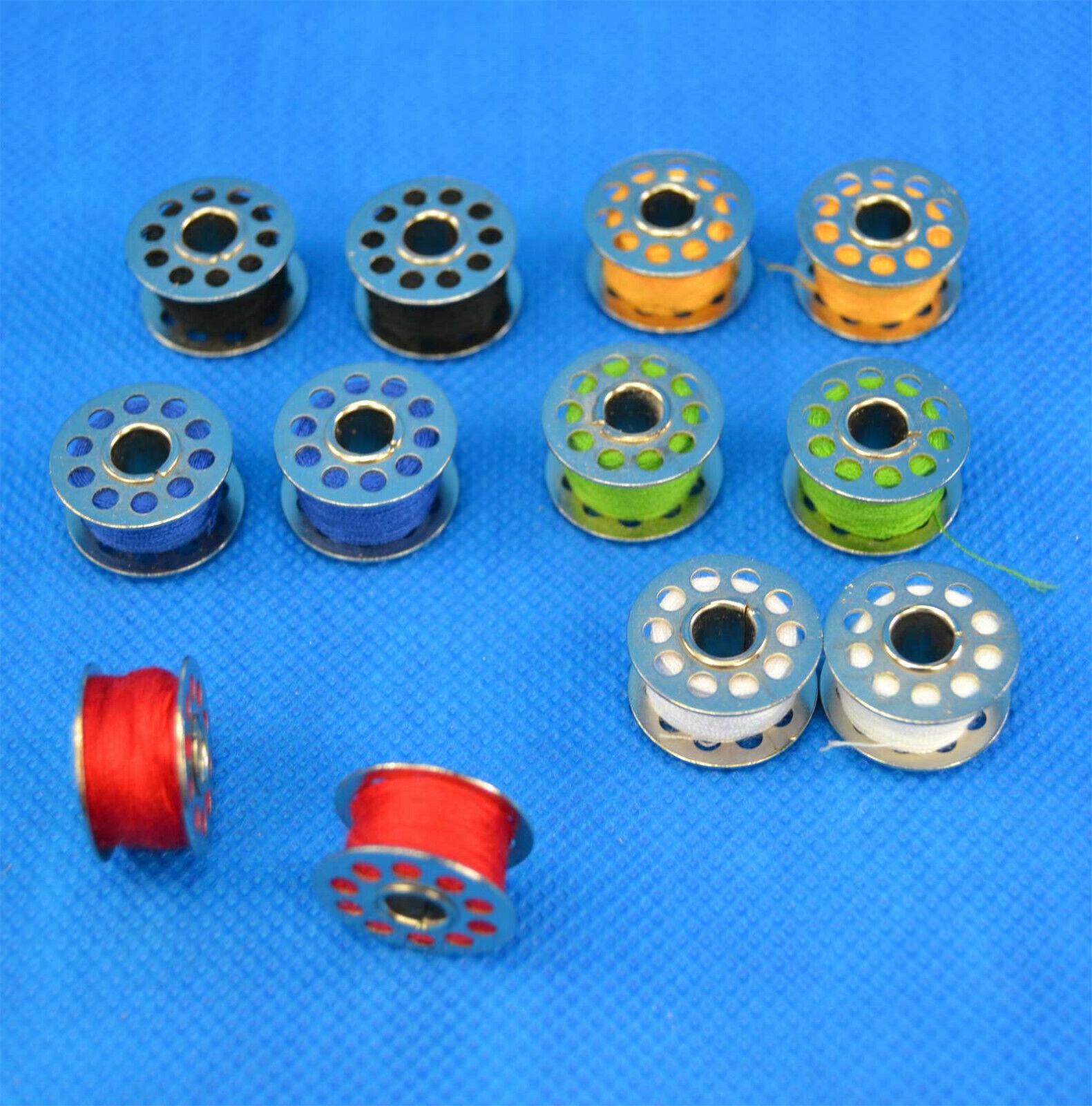 12 Nähmaschinenspulen aus Metall mit Garn Nähmaschinen Nähgarn Universal Spule