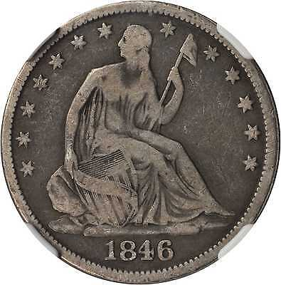 1846 O LIBERTY SEATED HALF DOLLAR. MEDIUM DATE. FINE 15 NGC.