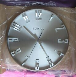 BULOVA 4846 Director Wall CLOCK 16 satin pewter-unused-unpacked for photo-perf.