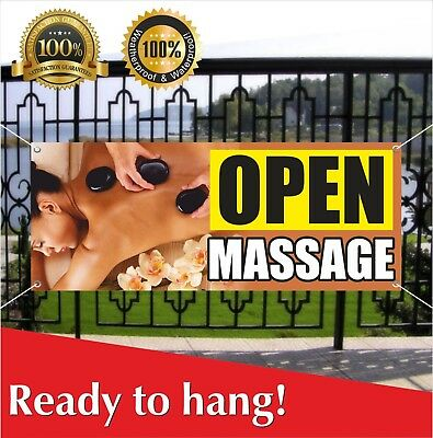 Open Massage Banner Vinyl Mesh Banner Sign Beauty Therapy Relieve Salon