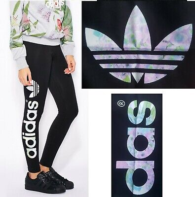 Adidas Originals Floral Black Linear Leggings trefoil
