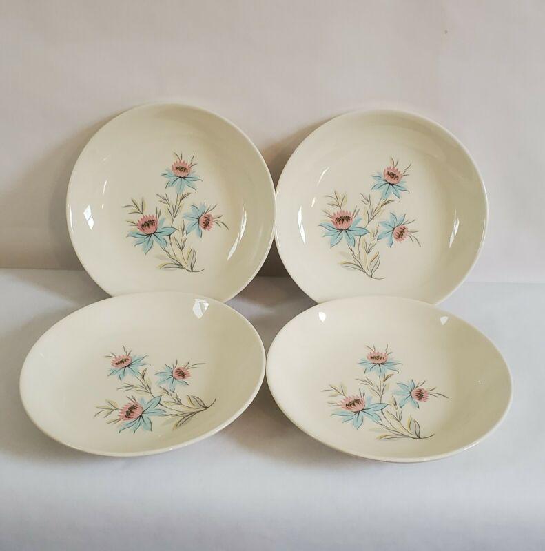 """Vintage Steubenville Pottery FAIRLANE 8"""" Soup Bowls: Lot Of 4"""