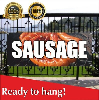 SAUSAGE Banner Vinyl / Mesh Banner Sign Flag Many Sizes Carnival Food Homemade