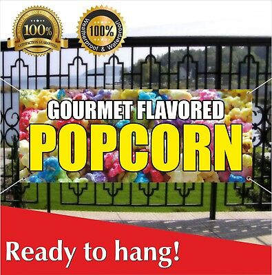 Gourmet Flavored Popcorn Banner Vinyl Mesh Banner Sign Flag Flavor Caramel