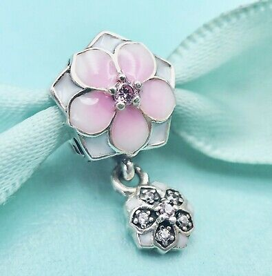 Authentic Pandora Dangle Charm Magnolia Bloom Bead with Pink CZ Clear # 792077#