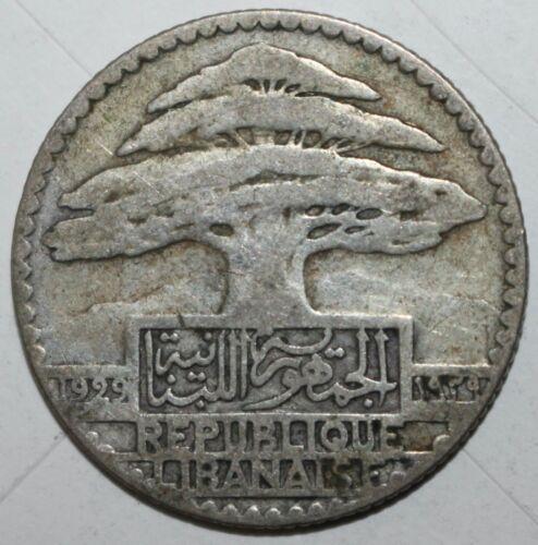 Lebanese 25 Piastres Coin 1929 KM# 7 Lebanon Silver .680 Cedar Tree Twenty-Five