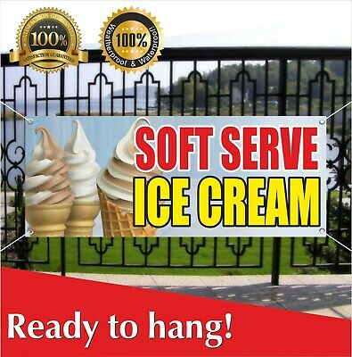 Soft Serve Ice Cream Banner Vinyl Mesh Banner Sign Brownies Dessert Whipped Deep