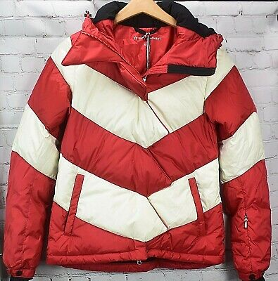 PERFECT MOMENT Goose Down Women's Puffer Jacket. Red/White XS NEW