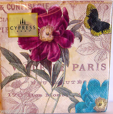 40 Cypress PARIS PURPLE FLORAL COLLAGE Paper Beverage Napkins.  Pk 40. GORGEOUS!