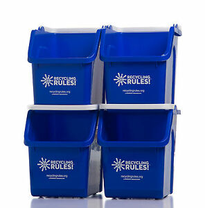 Blue Recycling Bins 6 Gallon Stackable multi-recycler - 4 pack