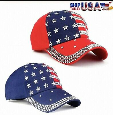 4th of July American Flag Baseball Snapback Cap with Rhinestones - 4th Of July Baseball Hats