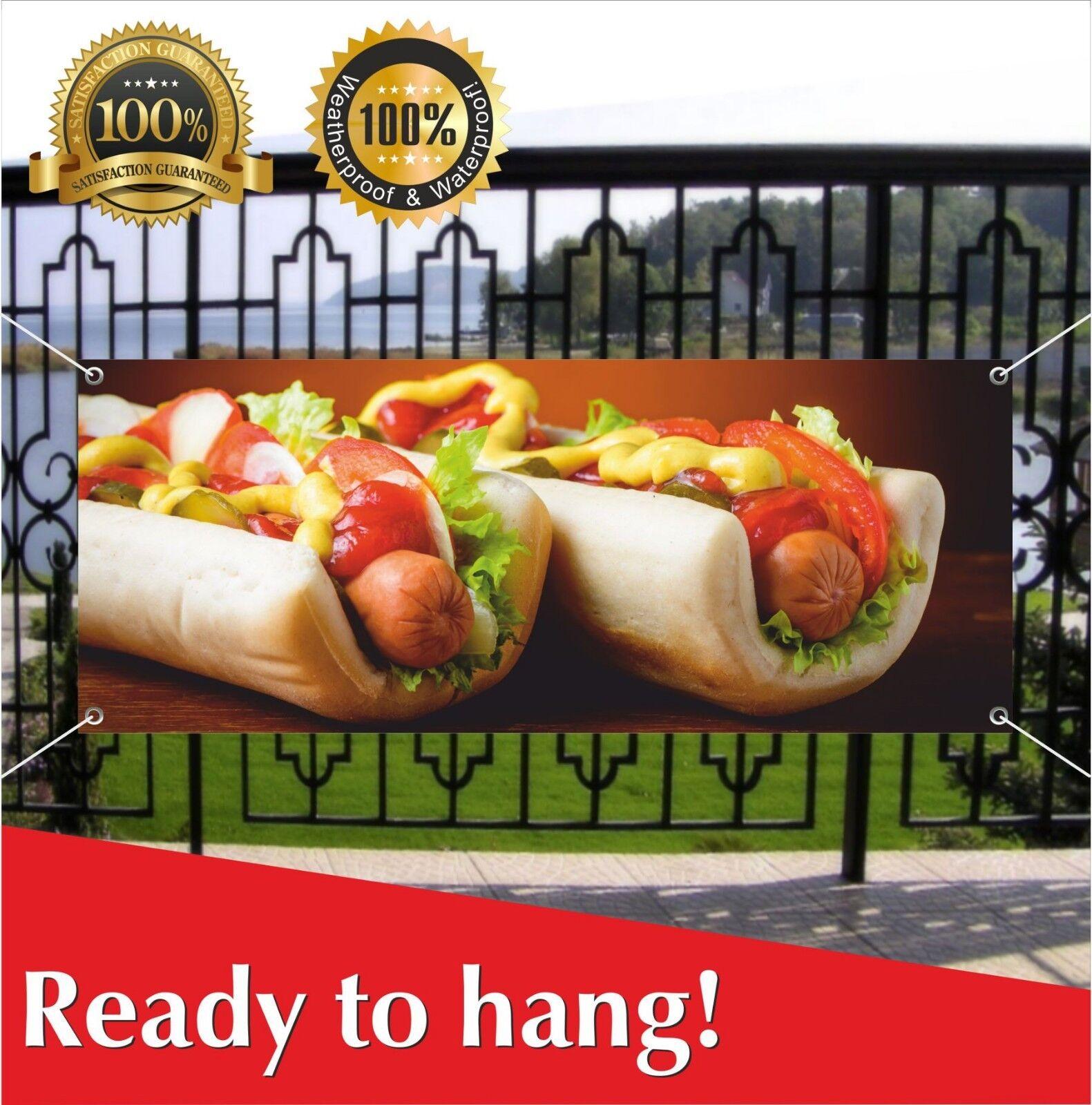 HOT DOGS Banner Vinyl / Mesh Banner Sign Flag Fast Food Cafe Bar Burgers Hotdogs - $17.76