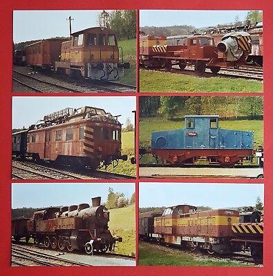 6 x Color Eisenbahn Foto Diesel-Lok 725 255-4, Dampflok 433 015  ( 24047