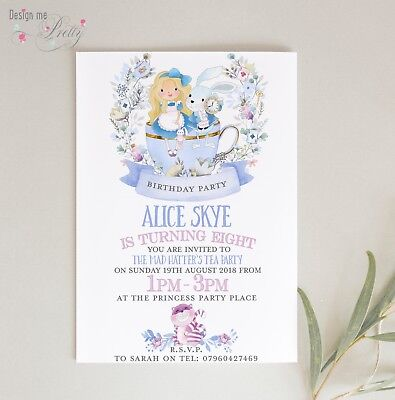 ALICE IN WONDERLAND BIRTHDAY INVITES - Pack of 10 - GIRL ANY AGE