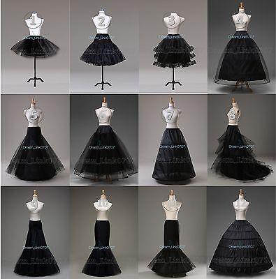 Petticoat Black (White/Black Bridal Petticoat Crinoline Underskirt)