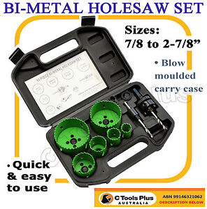 10PC BI METAL HOLE SAW KIT 22 TO 73MM HOLESAW SET ELECTRICIANS PLUMBERS TIMBER