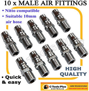 10 AIR HOSE FITTINGS NITTO STYL MALE COUPLER COMPRESSOR