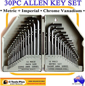 METRIC & SAE COMBINATION ALLEN HEX WRENCH KEY SET 30PC