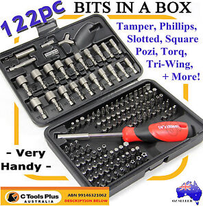 122PC BITS SET CR-V STEEL TORX HEX KEY SPANNER POZI PHILLIPS SOCKET SCREWDRIVER