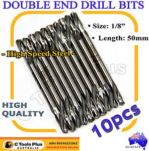 10PC 1/8'' HSS DOUBLE ENDED DRILL BIT END SET 3.2MM ALUMINIUM STEEL DRILLS