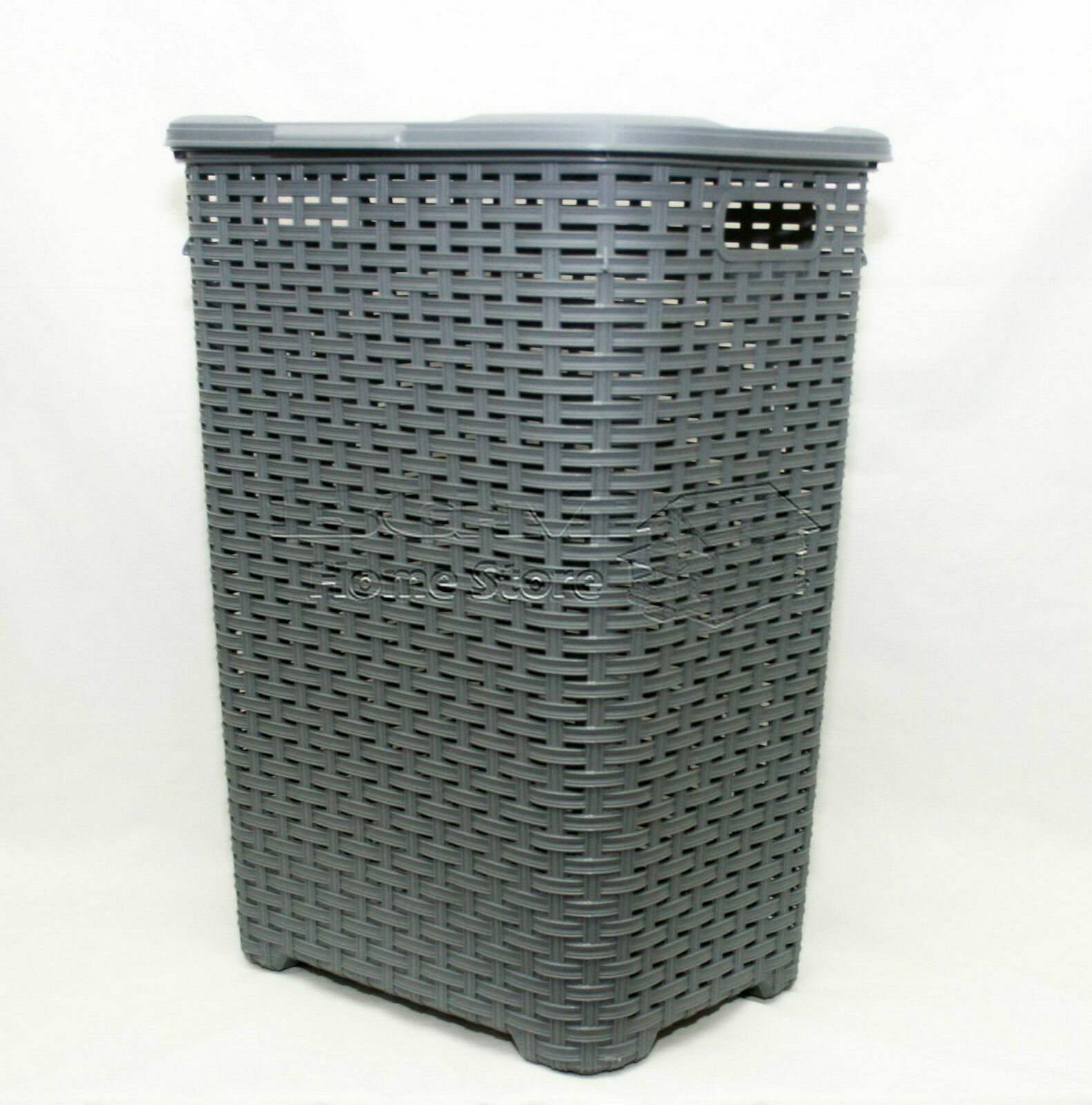 9cae8dfed54 2X 60L Woven Style Rattan Plastic Laundry Basket Bathroom Bin ...