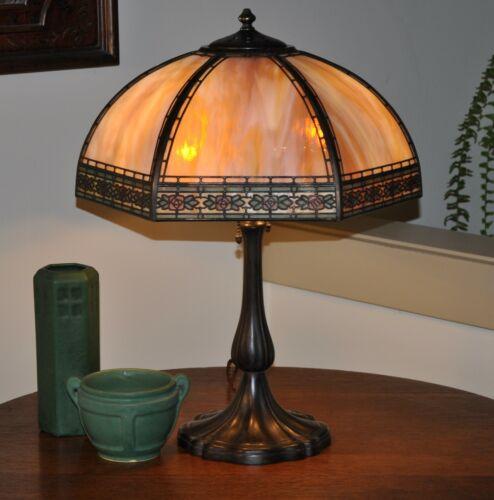Arts and Crafts Handel Mackintosh Rose Overlay Lamp