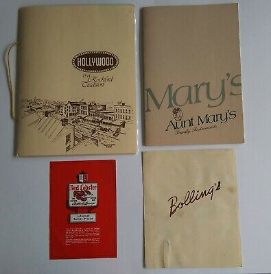 Red Lobster Early Mini/Hollywood Rockford/Bollings/Aunt Mary's Lot Of 4 Menus