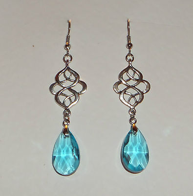 VICTORIAN STYLE PERSIAN DESIGN TURQUOISE FACETED GLASS SILVER PLATED EARRINGS