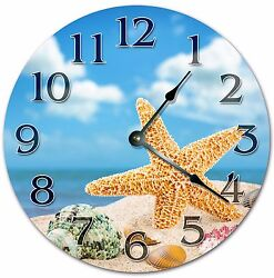 10.5 STARFISH AND SEASHELLS CLOCK -BEACH CLOCK - Large 10.5 Wall Clock - 4020