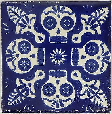 "Handmade Mexican Tile Sample Talavera Clay 4"" x 4"" Tile C395 Blue Skull"