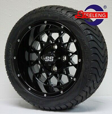 "GOLF CART 12"" BLACK 'VENOM' WHEELS / RIMS and 215/40-12 LOW PROFILE TIRES (4)"