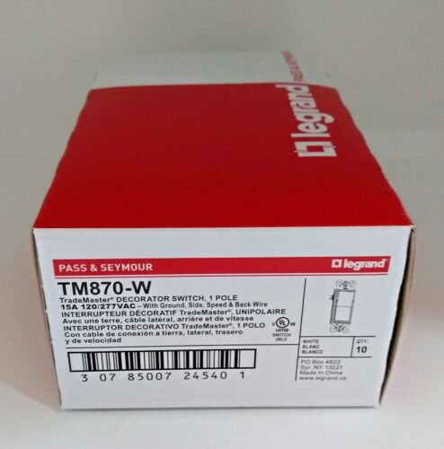 LOT OF 200 Pass Seymour TM870W 15 Amp WHITE 125 Volt 1 Pole NEW IN BOX FREE SHIP