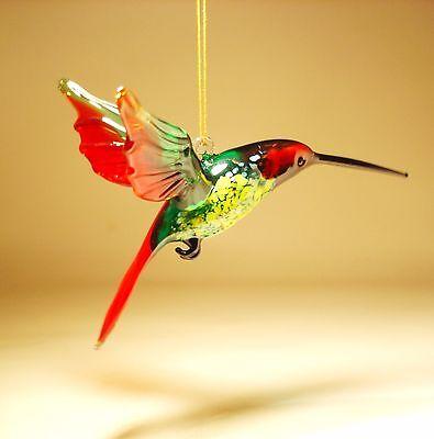 Blown Glass Figurine Bird Hanging Red, Yellow and Green HUMMINGBIRD Ornament