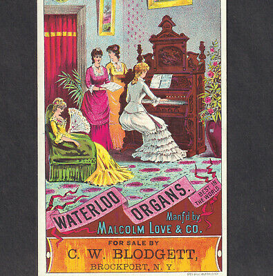 Brockport NY 1800s Waterloo Love Organ Blodgett Music Store Victorian Trade Card