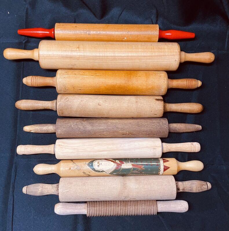 Lot Of 9 VINTAGE ANTIQUE PRIMITIVE WOOD ROLLING PINs