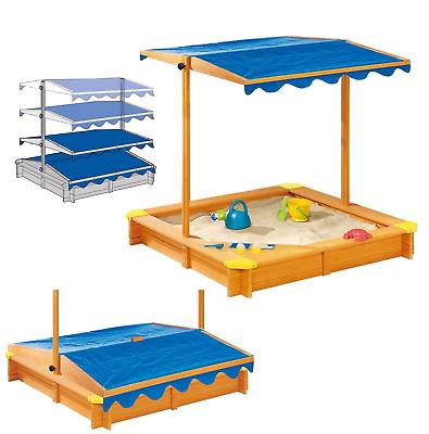 Playtive Sandkasten mit Dach Fichtenholz Holz Plane Sandkiste Sandbox Garten NEU