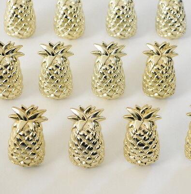 12 Gold Pineapple Cupcake Picks Topper Hawaiian Luau Tropical Birthday Party](Hawaiian Cupcakes)