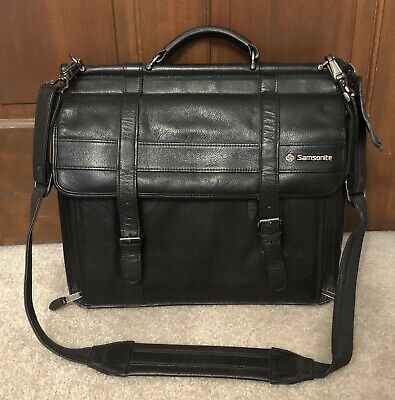 Samsonite Vintage Leather Flap Over Laptop Messenger Bag Briefcase  Black