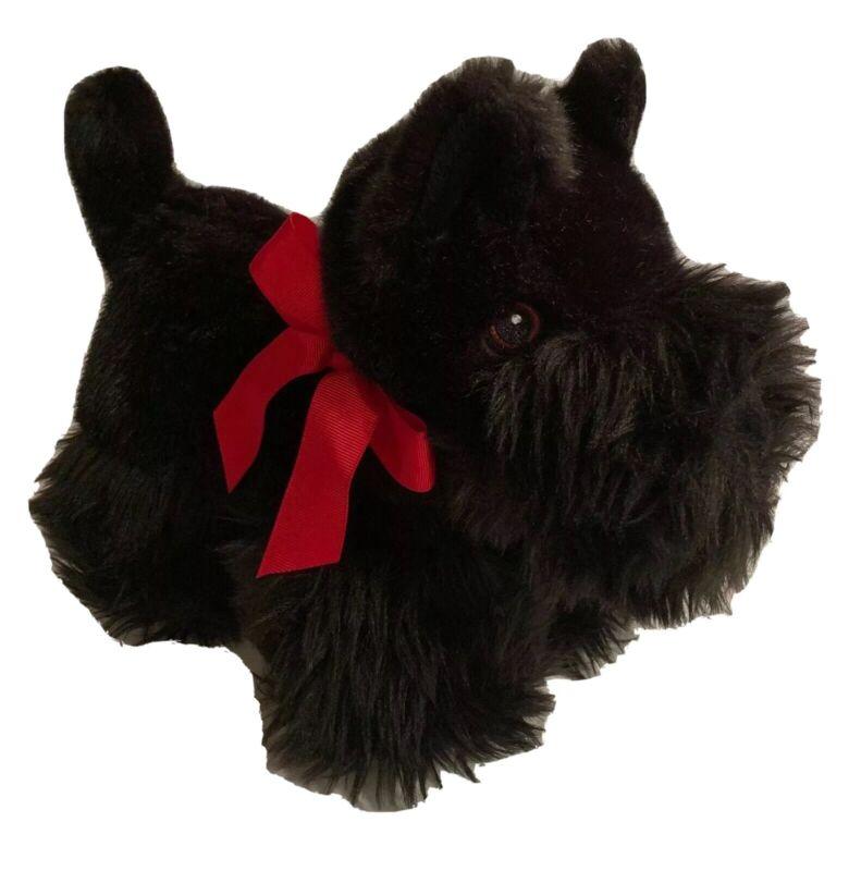 """Martha Stewart Black Scottie SCOTTISH TERRIER Dog 11"""" Plush Embroidered Eyes"""