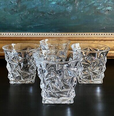 MG & I Rock Cut Double Old Fashioned Whiskey Glasses Faceted Square Base EXC
