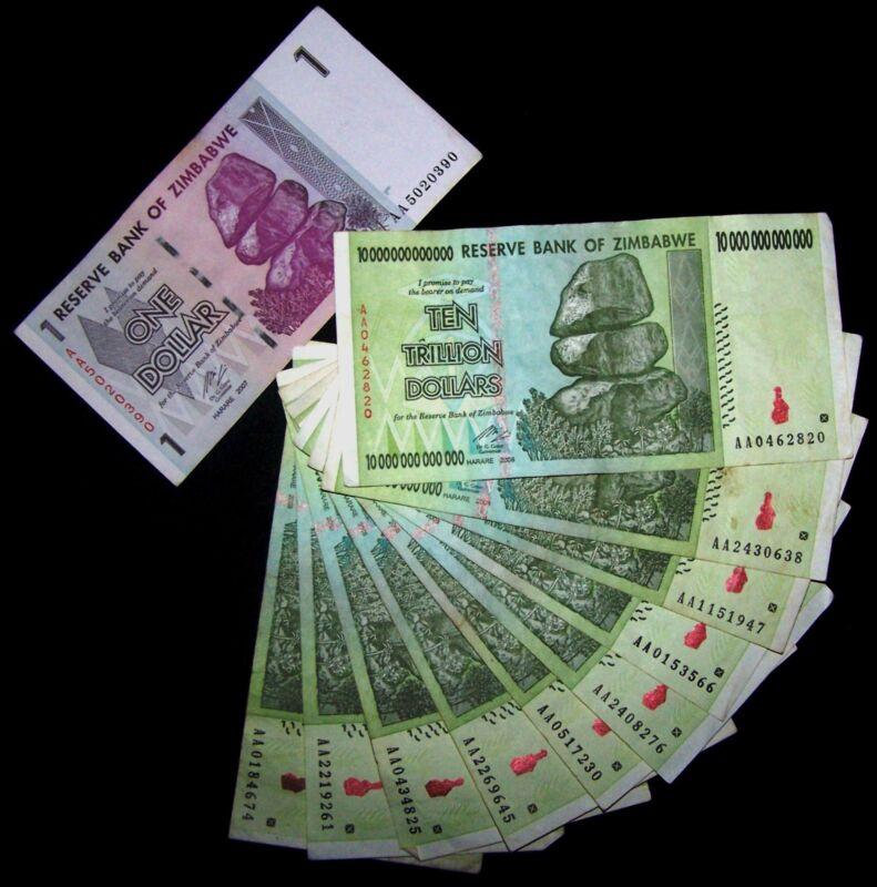 10 X Zimbabwe 10 Trillion Dollar banknotes(100 trillion)+ 1 Dollar currency