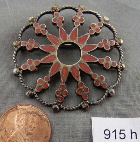 Antique, Unusual, Zuni Flush Inlay Floral?? Pin, Sterling & Coral