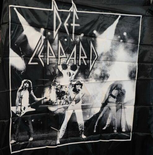 Vintage 1987 Black Nylon  Rock Flag, Banner  DEF LEPPARD   High N Dry  New