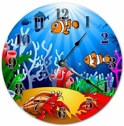 10.5 COLORFUL AQUARIUM CLOCK - KIDS CLOCK - Large 10.5 Wall Clock - 4047