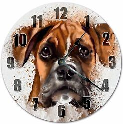 10.5 BOXER DOG PAINTING ART - DOG LOVER'S CLOCK - Large 10.5 Wall Clock - 4031