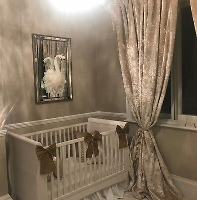 Nursery Decor Baby Girls Large Cot Bow Princess Bedding Set Gold x 3 Bows for sale  Shipping to South Africa