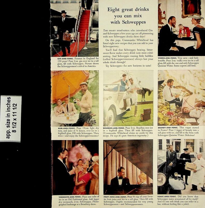 1957 Eight Great Drinks Schweppes Vintage Print Ad 6929