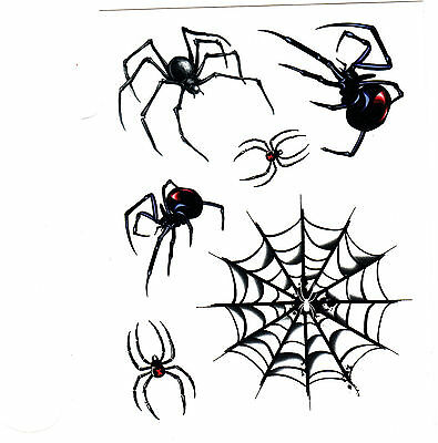 SPIDERS, BLACK WIDOW & SPIDER WEB - 6 Temporary Tattoos/Halloween, Party - Halloween Black Widow